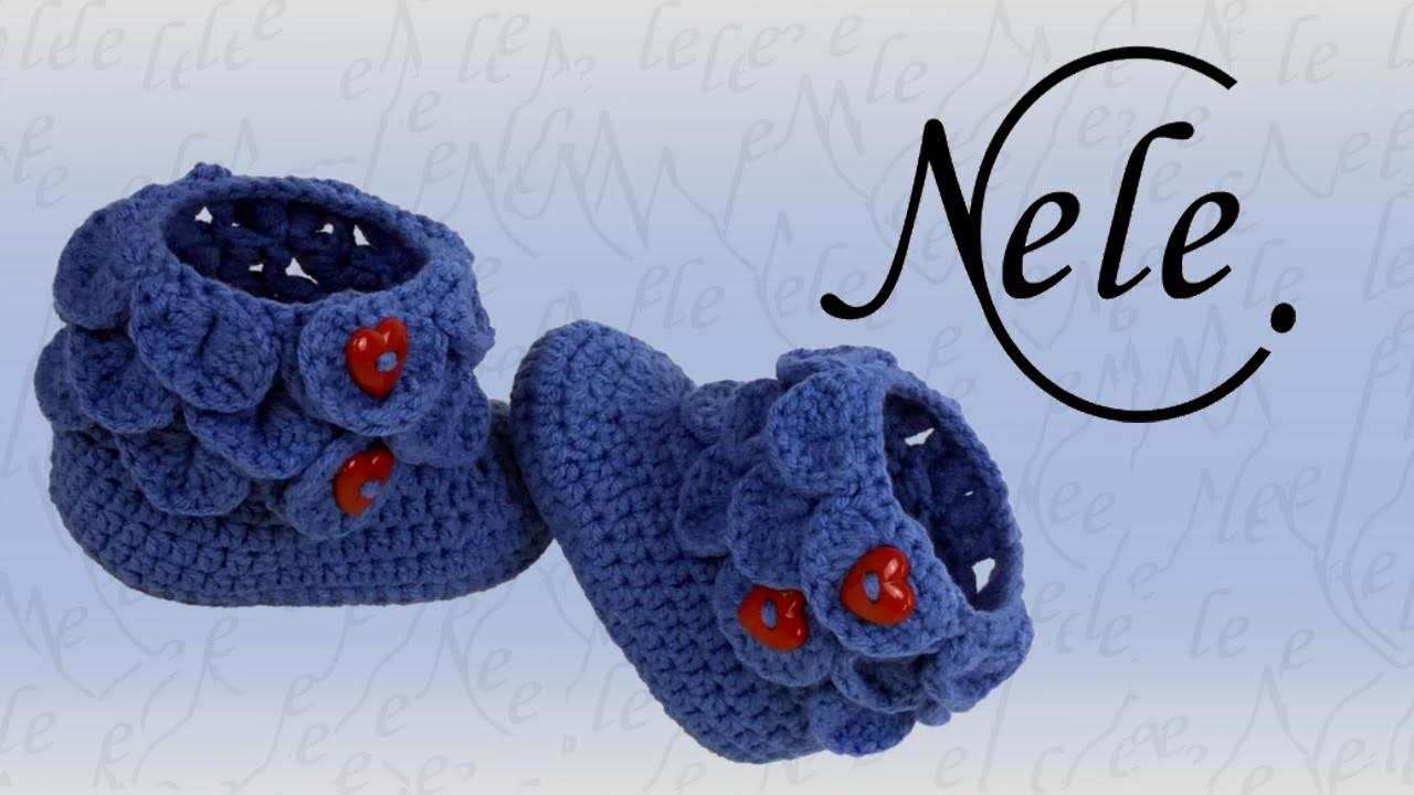 Babyschuhe häkeln - crocodile stitch - Schuppenmuster - Teil 1, DIY Anleitung by NeleC.
