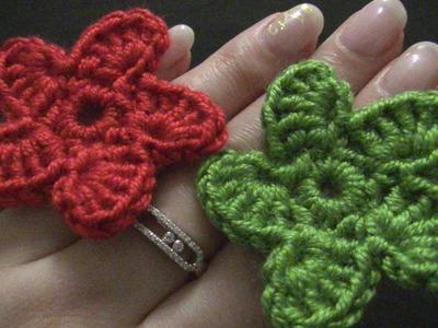 Blume häkeln - einfach und schnell - 5 spiralförmige Blätter