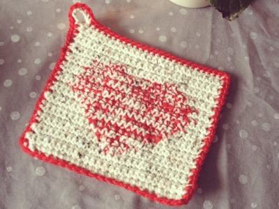 DIY Muttertagsgeschenk Topflappen mit Herz *häkeln* TEIL 1