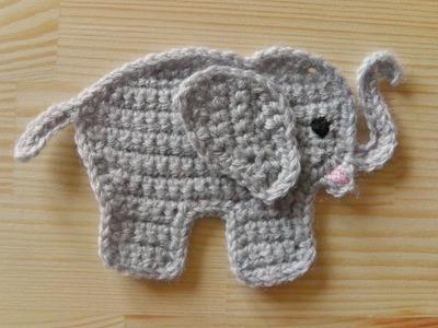 Elefant Aufnäher häkeln für Linkshänder