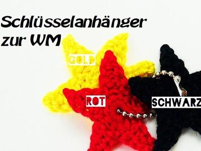 Häkeln Stern - Schwarz Rot Gold - Häkelstern Schlüsselanhänger
