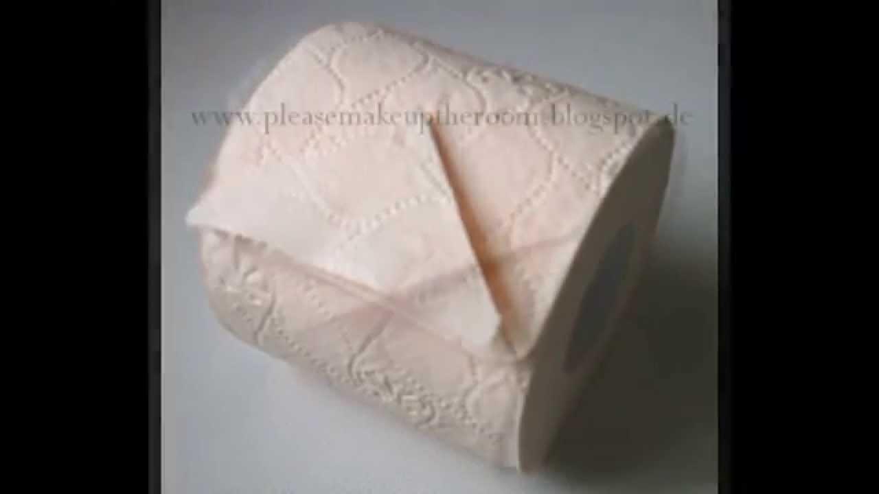 Toilettenpapier Spitze falten, how to fold toilet paper