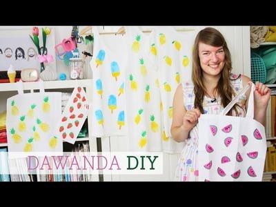 DaWanda DIY: Stoff bedrucken mit Stempeln aus Kartoffeln