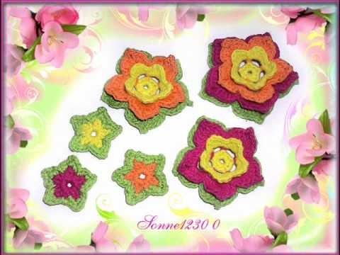 Häkelblumen Häkelbutton Handarbeit Crochet Häkeln, keine Anleitung