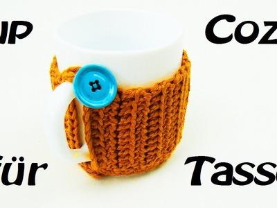 Häkeln Cupcozy für Tasse - mit Knopf befestigt - praktisch!