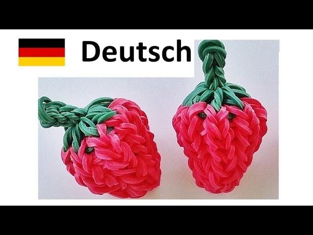 Loom Bandz Anleitung Deutsch Erdbeere 3D. Rainbow Loom || Loom Bands Deutsch