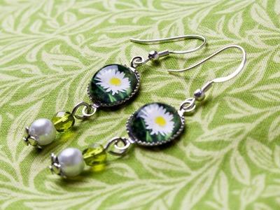 Schmuck selbst gestalten: Cabochon-Ohrringe DIY - eine Geschenkidee für die Freundin. Mama. Oma