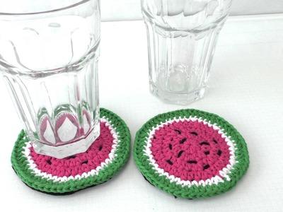 Untersetzer häkeln für Anfänger - Wassermelone Design selber häkeln deutsche Anleitung