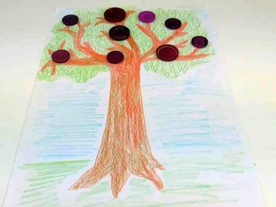 Basteln mit Knöpfen - Wie male ich einen Pflaumenbaum