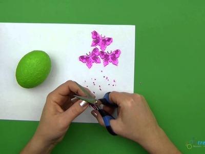Basteln zu Ostern: Osterei mit Schmetterlingen