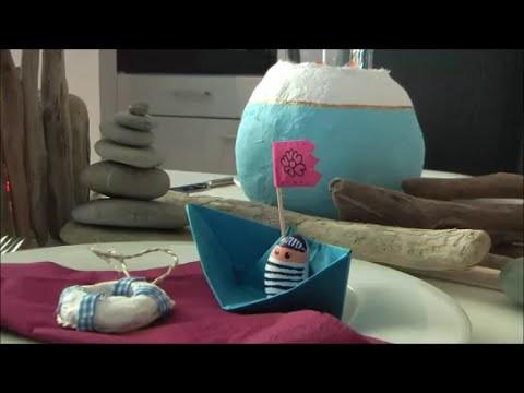 DIY: Maritime Mediterrane Ideen Tisch decken. Basteln Einrichtung Deko