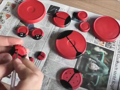 [DIY mit Mel] Marienkäfer aus Kronkorken oder Deckeln von z.B. Gurkengläsern
