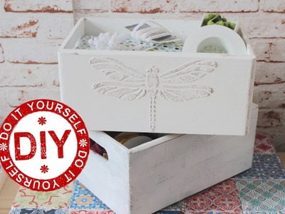 DIY: Selbst gemachte Strukturpaste (3D-Ornamente auf Holzboxen) ★ Deko Inspirationen Selbstgemacht