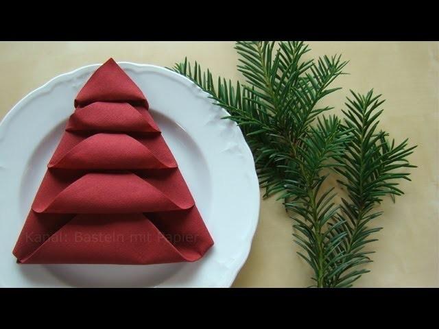 Servietten falten - Tischdeko für Weihnachten