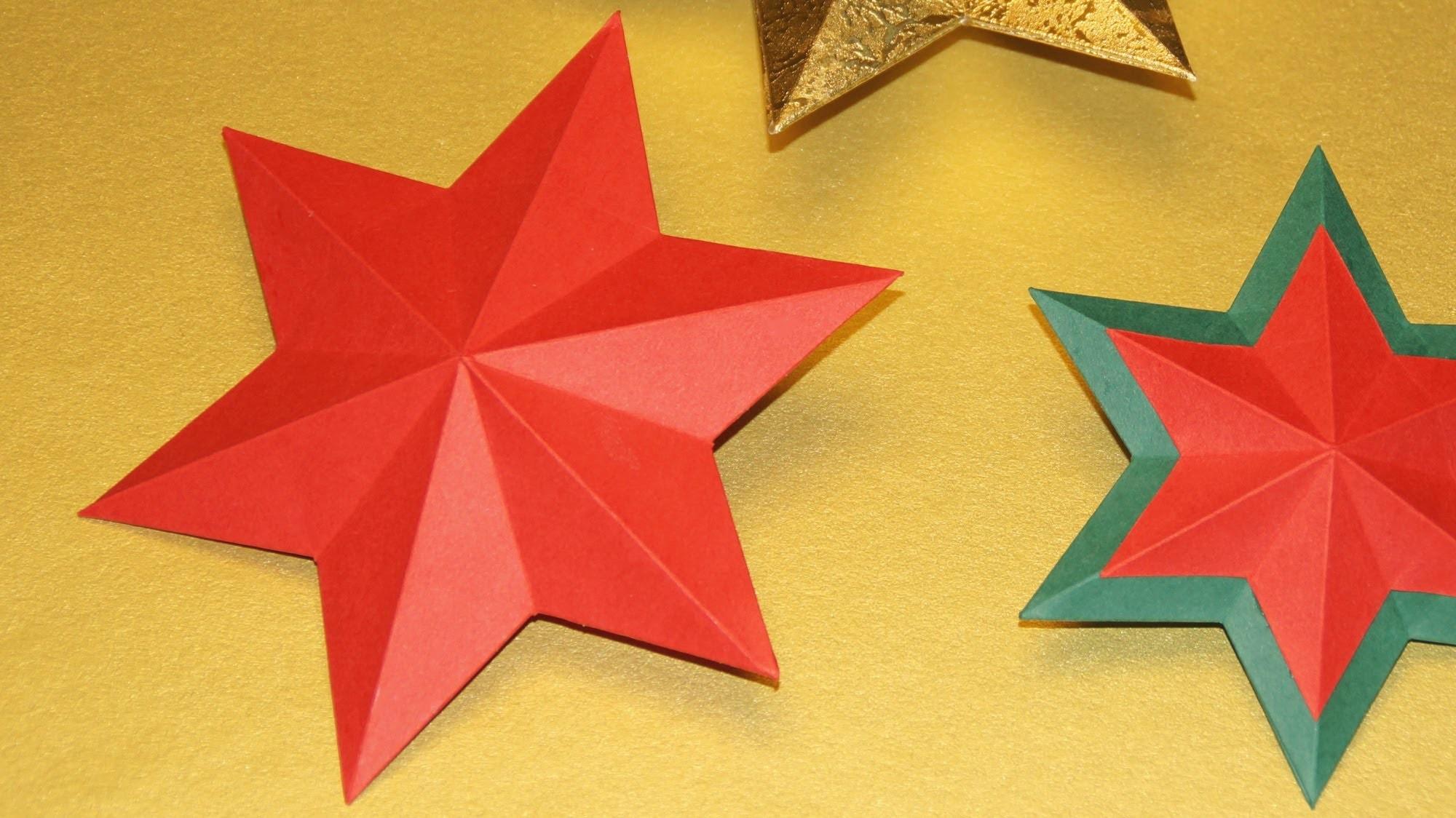 Sterne basteln zu Weihnachten.  3 D Stern falten.  How to fold a six pointed star