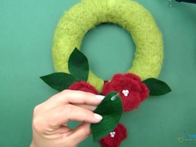 Türkranz basteln aus Styropor mit Blumen - Bastelidee und Anleitung