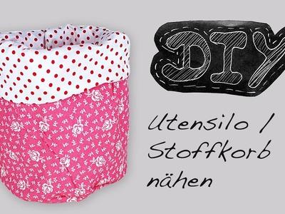 Utensilo Stoffkörbchen Nähanleitung + Schnittmuster selber nähen DIY kostenlos video Stoffkorb