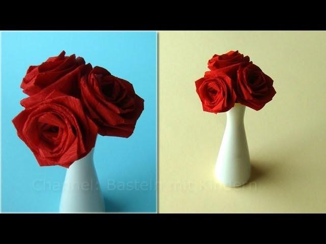 Basteln mit Kindern: Origami Rose falten - Rosen basteln mit Papier