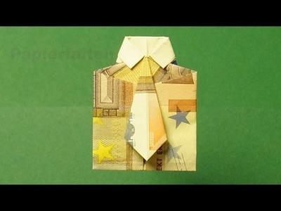 Geldscheine falten, Hemd mit Krawatte für Geldgeschenke