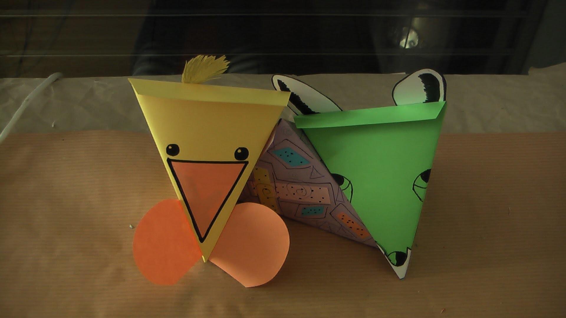 Geschenkboxen Dreiecke aus Papier Tiermotive Box Geschenk DIY selbermachen