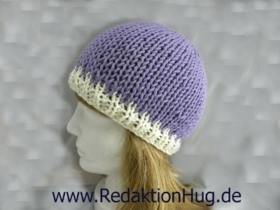 Knooking - Mütze von oben geknookt mit hatnut XL 55