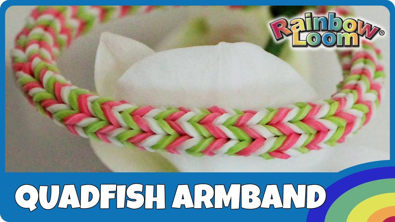 Rainbow Loom MonsterTail: Quadfish Armband - deutsche Anleitung