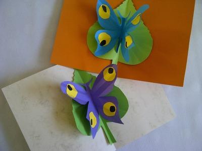 Basteln lernen. Schmetterling Pop-Up Karte. Bastelidee zum Muttertag, Vatertag oder Geburtstag.