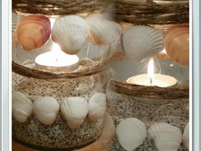 DIY Basteln mit Muscheln Teelichter