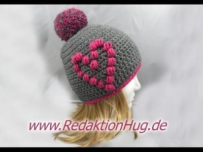 Häkeln - Mütze mit Herz aus hatnut XL 55 von Pro Lana