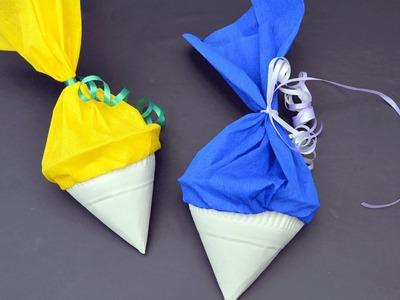 Schulanfang: Schultüte aus Papptellern basteln