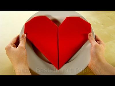 Servietten falten: Herz - einfache DIY Deko selber machen - Anleitung