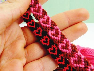 Herz-Armband | Herzchen Knüpfarmband. Freundschaftsarmband selber machen Anleitung | deutsch