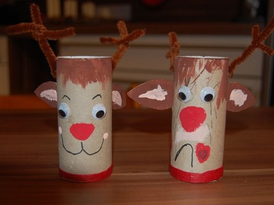 Recycling Basteln mit Kindern - Ideen für Weihnachten, Nikolaus Teil 1 - Elch, Rentier Rudi