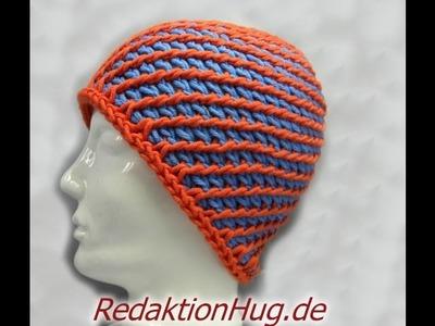 Tunesisch Häkeln - Mütze - Häkelmütze 54 - 56 cm Kopfumfang 7-Meilen-Muster - Veronika Hug