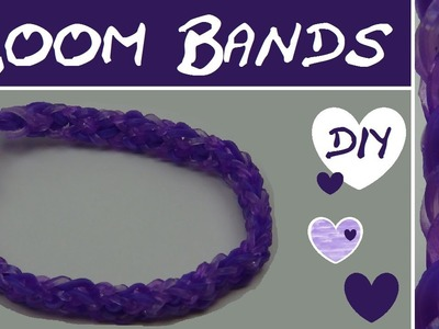 DIY Loom Band Armband mit invertiertem Fischgräd-Muster in Lila. Anleitung