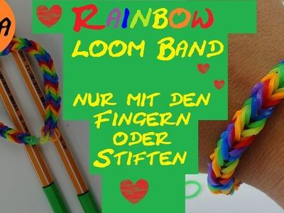 DIY Rainbow Loom Band mit Fishgrät-Muster ohne Loom Board nur mit Stiften oder mit den Fingern