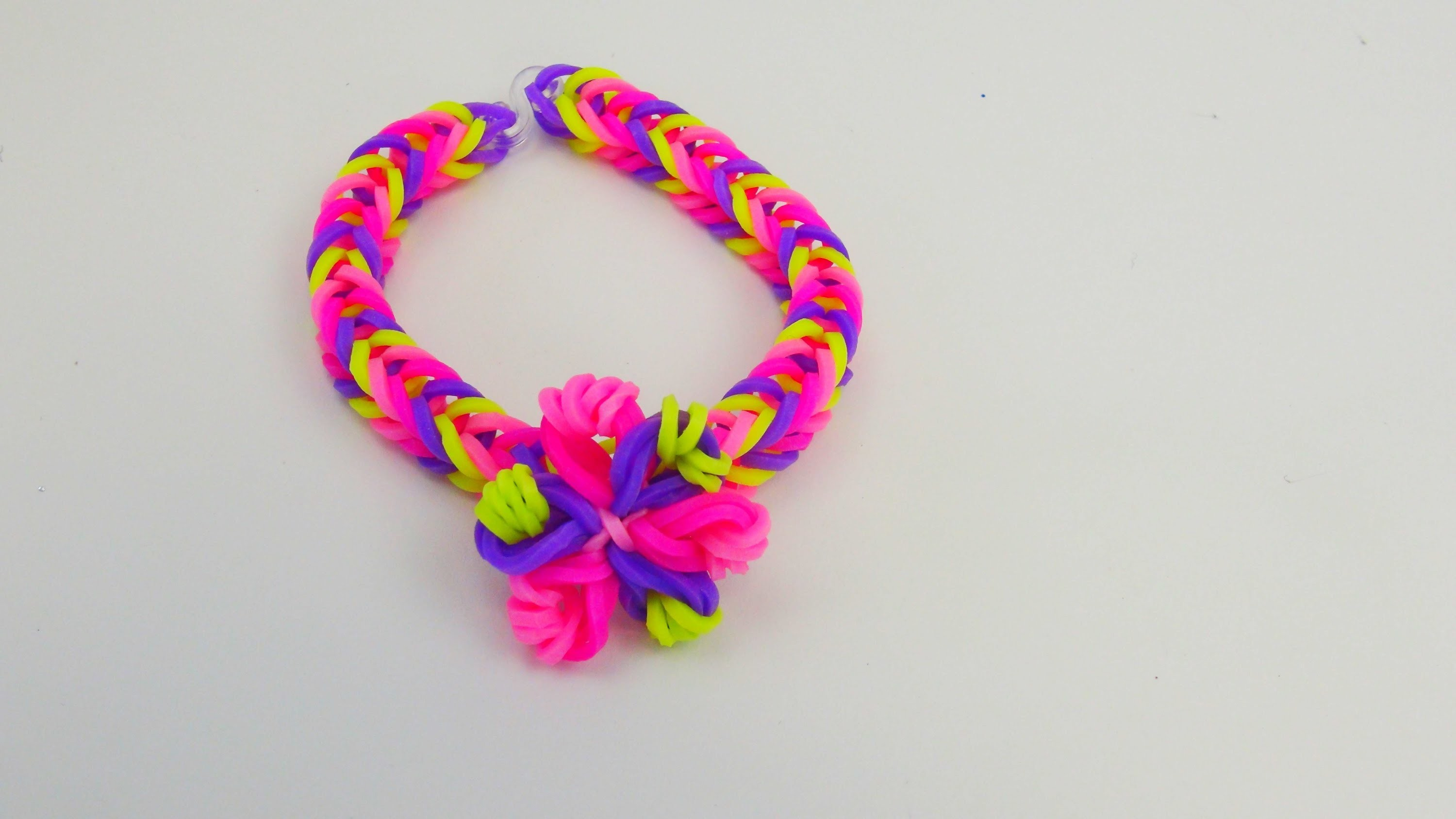 Easy Loom Band Flower Bracelet. Fishtail mit Blume Armband Tutorial | deutsch