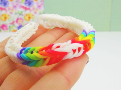 Loom Bandz Fishtail Double Rainbow Bracelet. Armband with FORK. GABEL Tutorial | deutsch