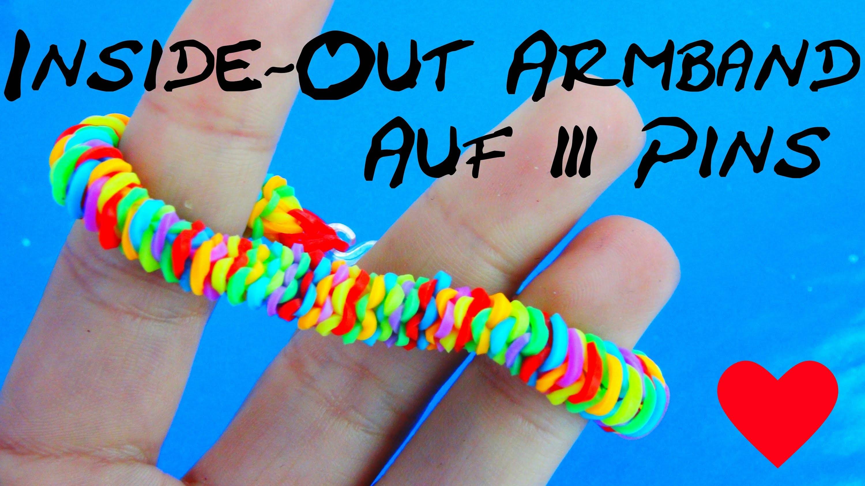 Loom Bandz Inside Out Armband auf 3 Pins oder mit Gabel selber machen Anleitung | deutsch