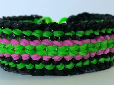 Rainbow Loom Dragon Scale Cuff Double Banded- Double Dragon Scale Bracelet.Diy