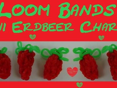 DIY Loom Bands Charms Erdbeere mit Loom Board und Häkelnadel