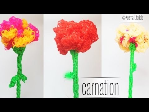 Rainbow Loom Blume Nelke - Easy carnation flower ENG Sub