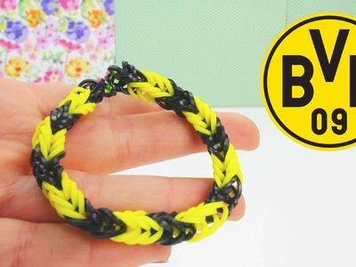Rainbow Loom BVB. Borussia Dortmund Armband Fussball Loom Band Anleitung | deutsch