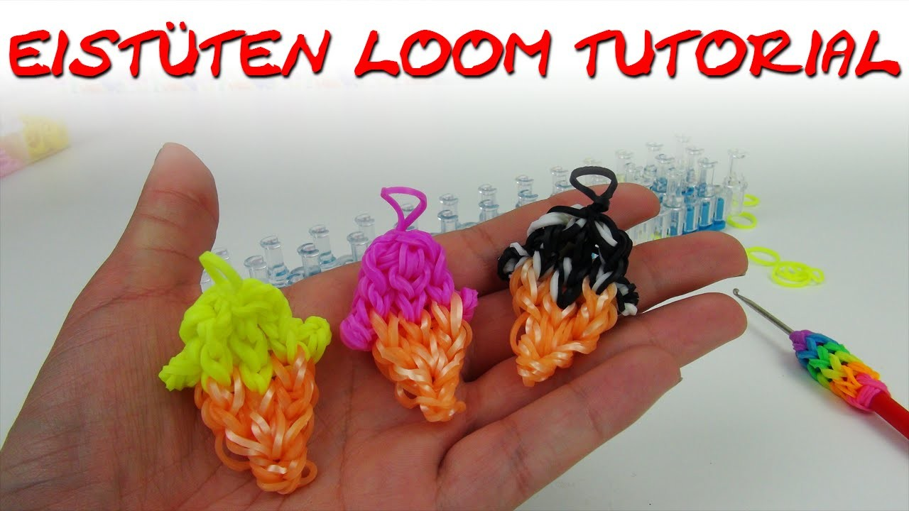 Rainbow Loom Eis deutsch Eis-Tütorial (Haha, Wortspiel) loom bands ice cream charm tutorial