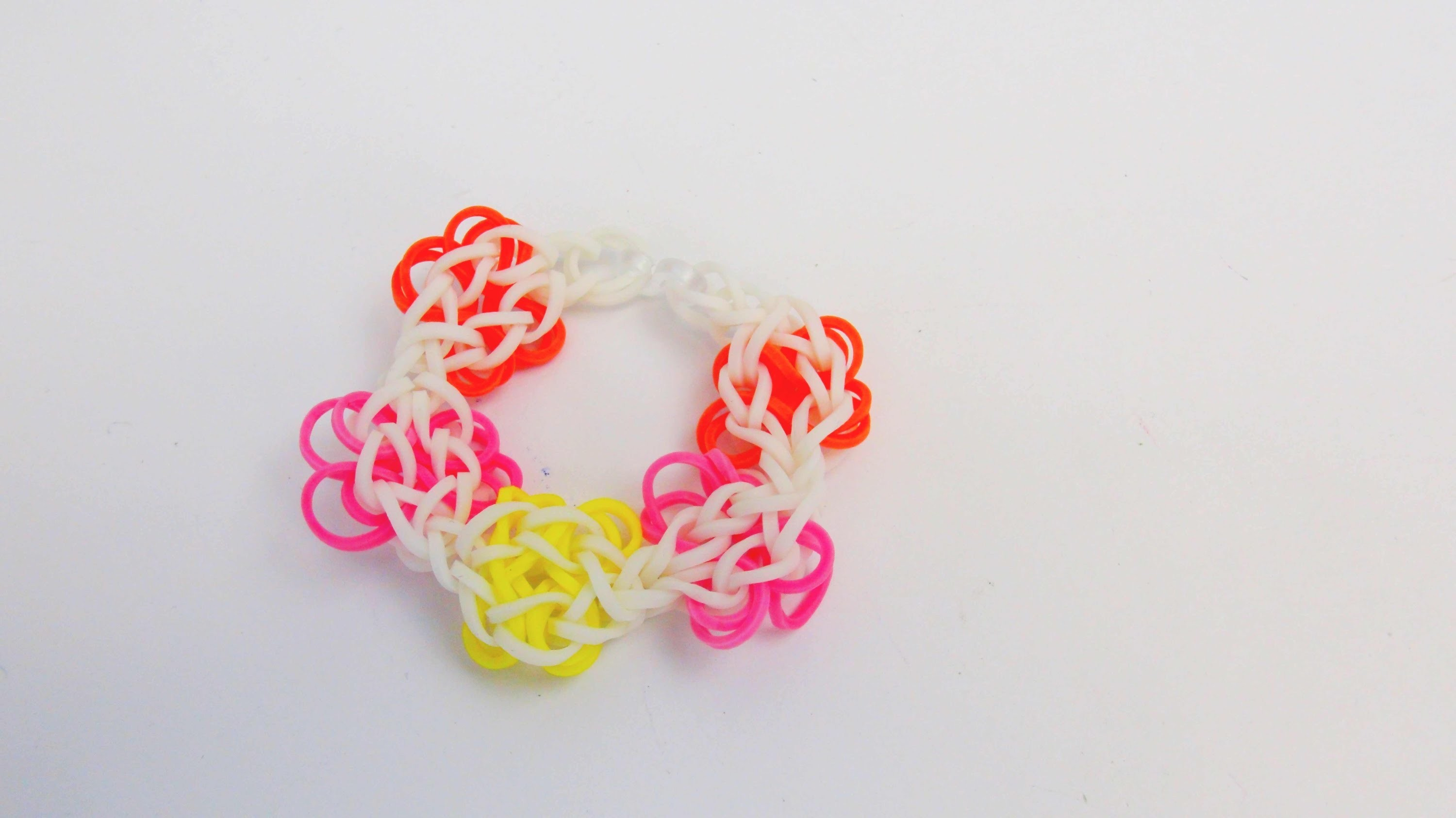 Rainbow Loom Frühlingsarmband. Blumenarmband mit dem MonsterTail Easy Loom Band Tutorial | deutsch