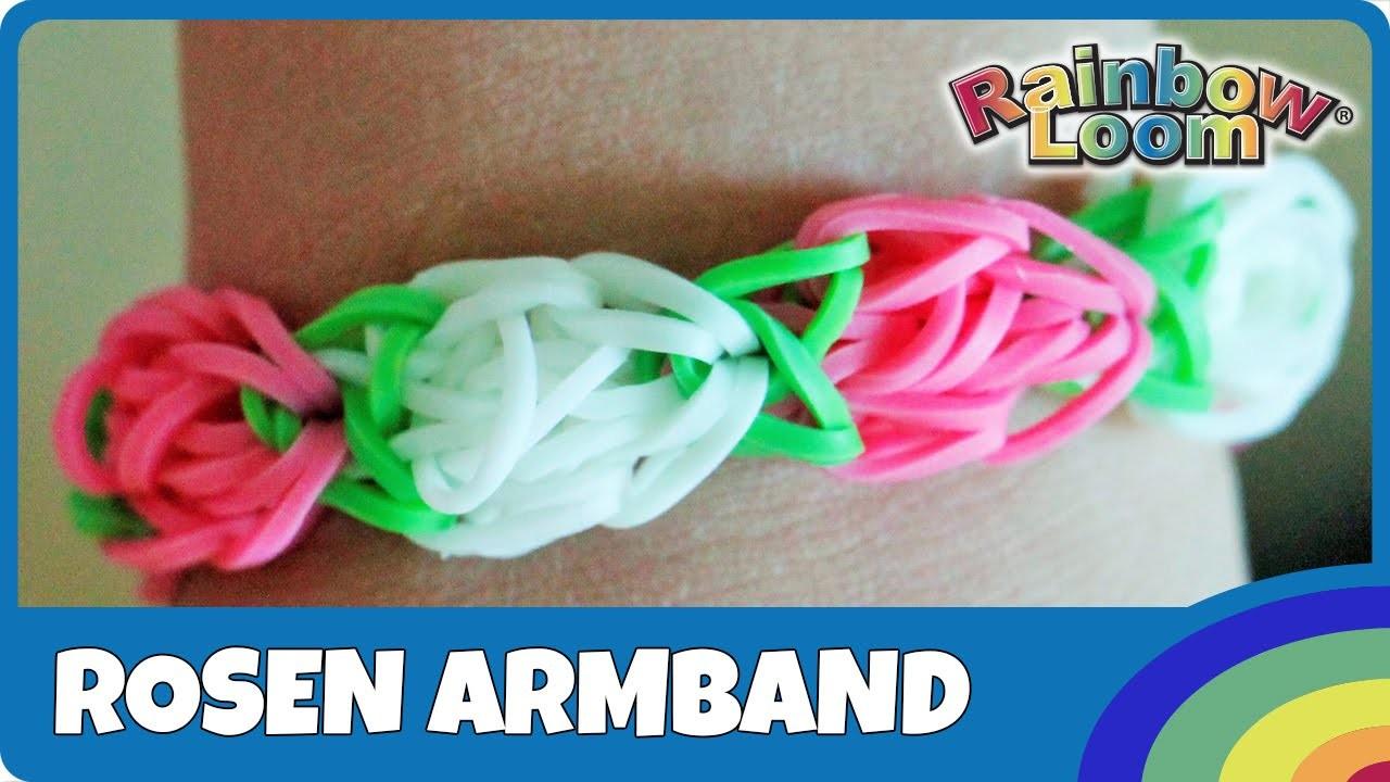 Rainbow Loom Rosen-Armband - deutsche Anleitung