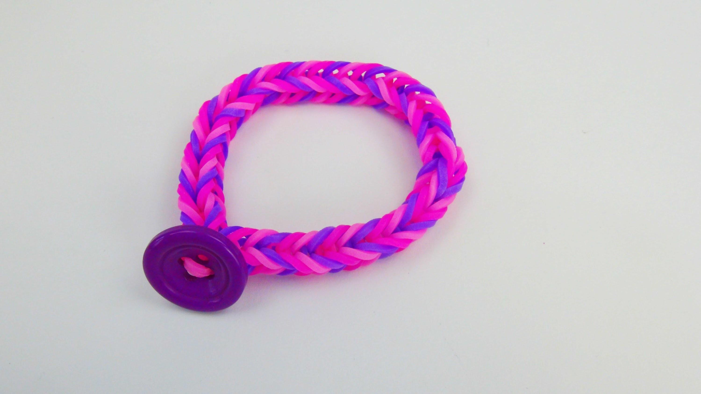 Loom Bands mit Knopf Bracelet  Knopfverschluss Alternative. Fishtail Armband Anleitung | deutsch