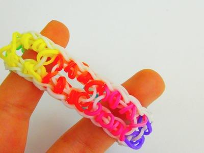 Loom Bands Regenbogen Armband Variation mit Löchern. Special Loom Band Bracelet Rainbow | deutsch