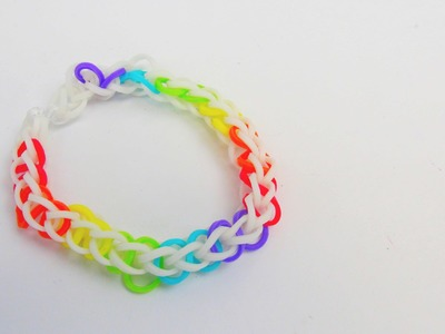 Rainbow Loom Single Armband. Bracelet 8er Single auf dem MonsterTail Loom Tutorial | deutsch