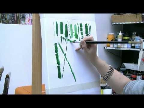 Acrylmalen: Malen lernen, Übungen zum Bambus. Acrylic painting Tutorial Demo, bamboo painting